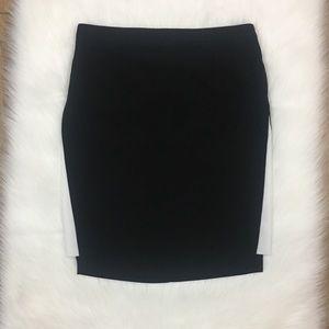 Zara Basic Black Pencil Skirt With White Side Slit